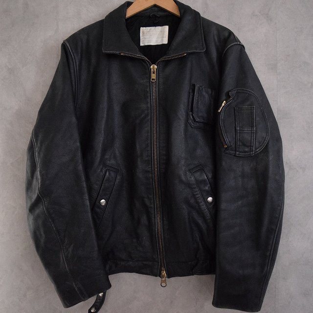 画像1: French Military Leather Pilot Jacket BLACK (1)