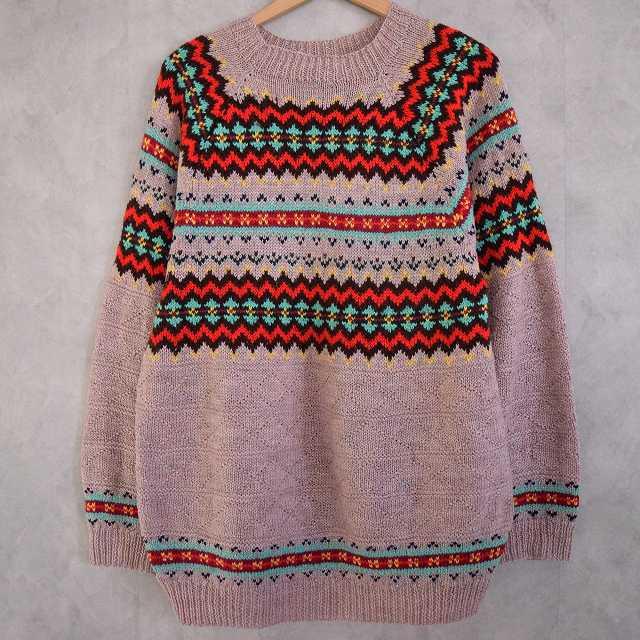 画像1: 50's Handmade Fair Isle Sweater (1)