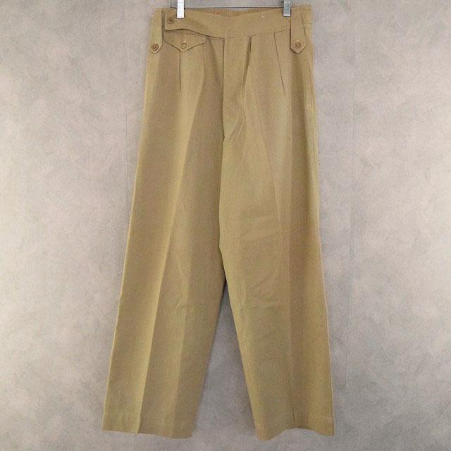 画像1: 40's WWII British Army 4Pleated Cotton Drill Trousers W27-30 (1)