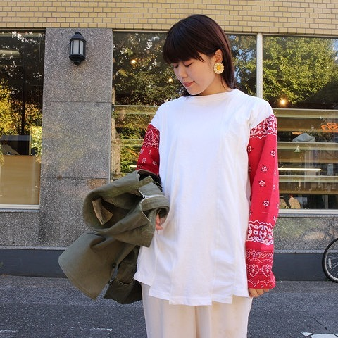 "画像1: ink ""LOOSE BANDANA"" WHITE×RED (1)"
