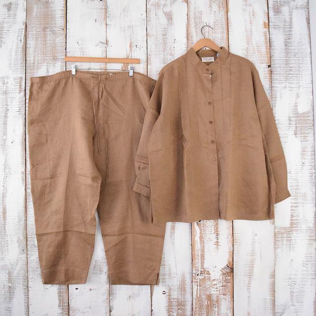 画像1: ノーカラー リネンシャツ & パンツ SETUP (1)