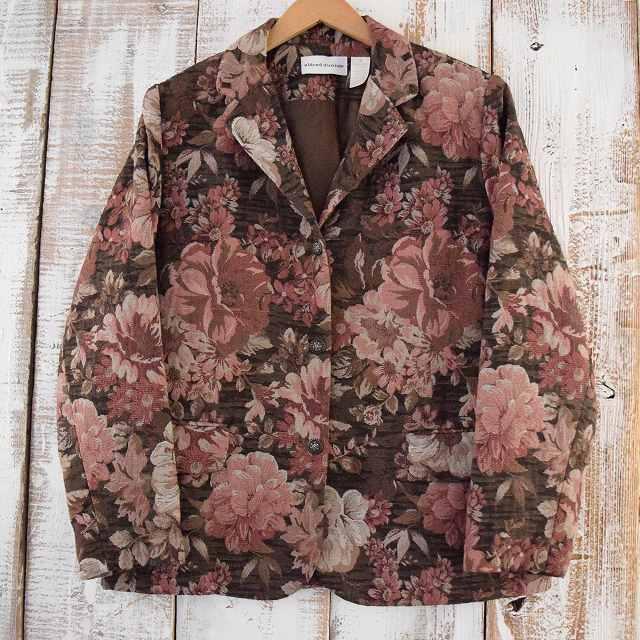 画像1: alfred dunner 花柄ゴブラン織り テーラードジャケット (1)