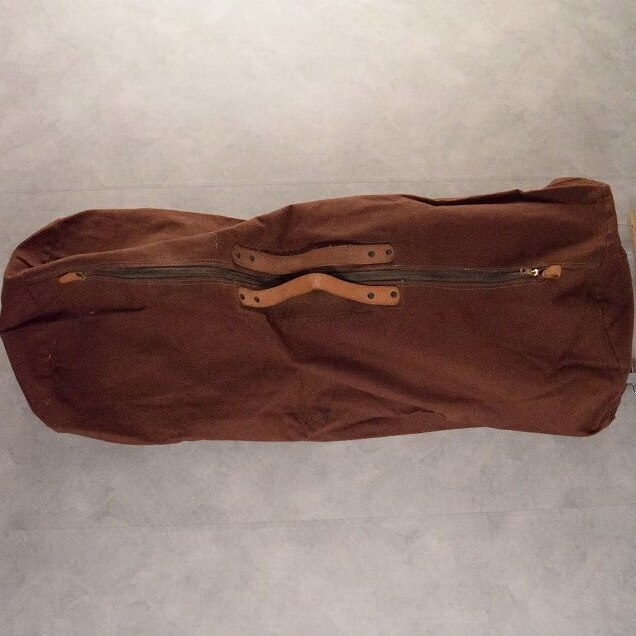 画像1: 40's Leather Handle Brown Duck Boston Bag (1)