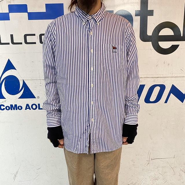 画像1: Ralph Lauren ストライプ柄 ボタンダウンコットンシャツ XL (1)
