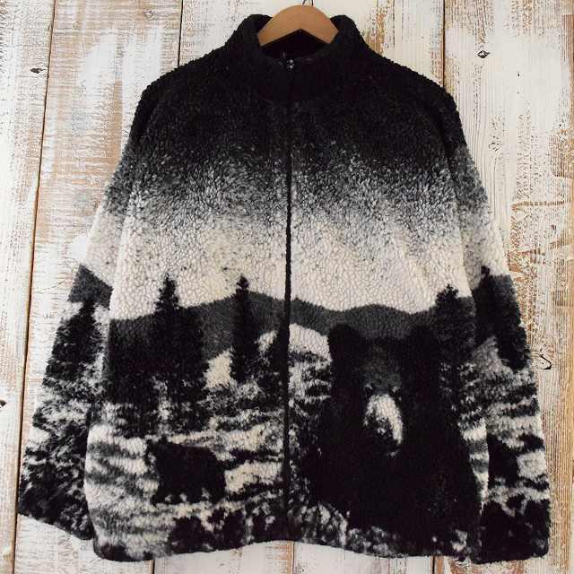 画像1: BLACK MOUNTAIN USA製 くま柄フリースジャケット (1)