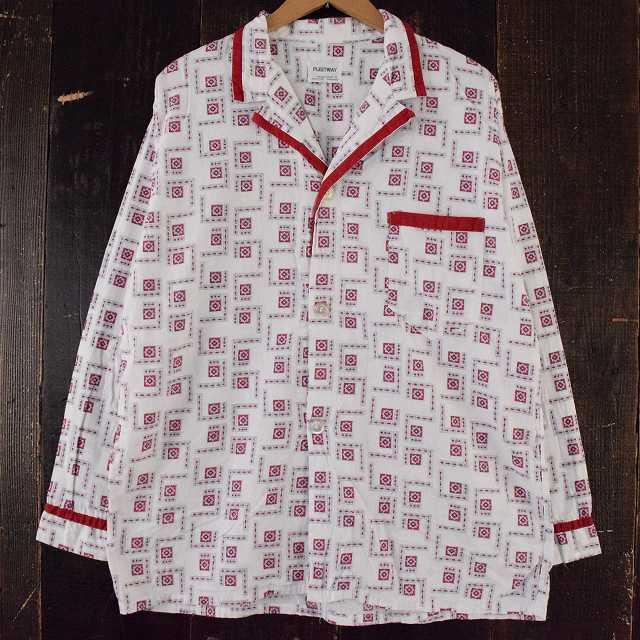 画像1: 60's PLEETWAY 総柄開襟パジャマシャツ (1)