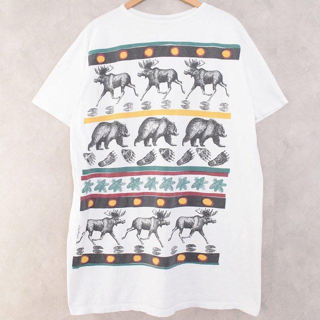 画像1: 80's〜 MICHIGAN RAG USA製 Animal Pattern T-shirt (1)