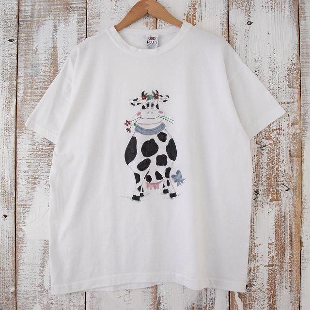 画像1: 90's〜 USA製 牛プリントTシャツ (1)