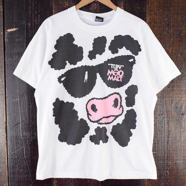 """画像1: 80〜90's USA製 """"TCBY. MOO MALT"""" 牛イラストプリントTシャツ XL (1)"""