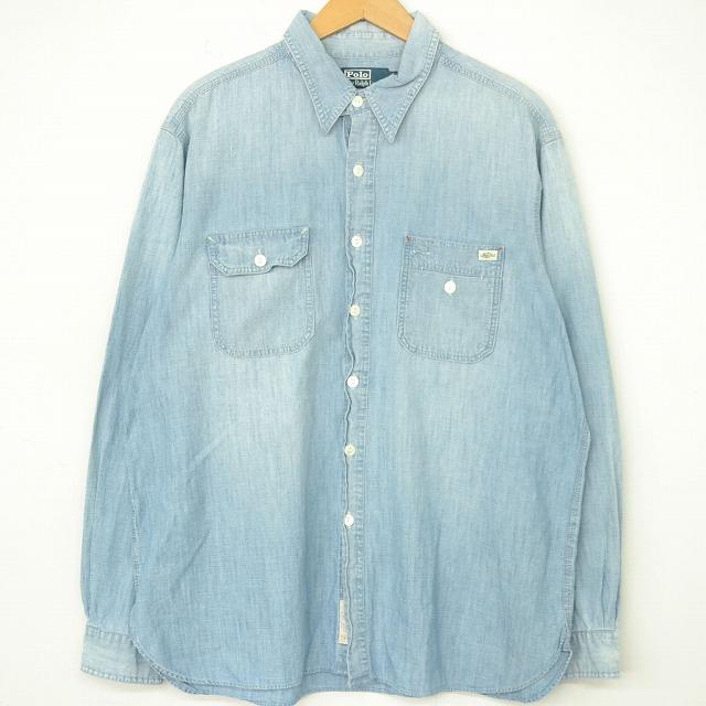 画像1: POLO Ralph Lauren ガチャポケ シャンブレーシャツ XL (1)