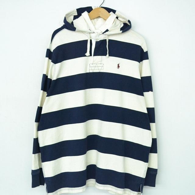 画像1: POLO Ralph Lauren ボーダー柄 フード付きラガーシャツ XL (1)