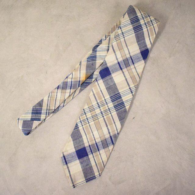 画像1: ROBERT TALBOTT for Yankee Peddlet Shoppes Madras plaid Cotton Tie (1)