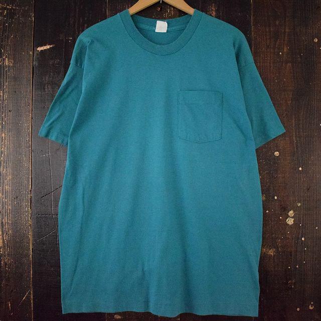 画像1: 80's FRUIT OF THE LOOM USA製 無地ポケットTシャツ XXXL (1)