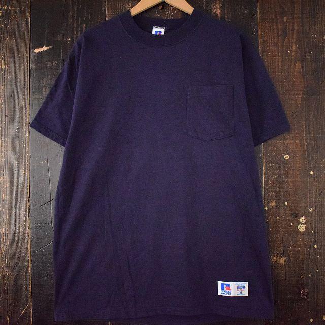 画像1: 90's RUSSEL ATHLETIC USA製 無地ポケットTシャツ XL (1)