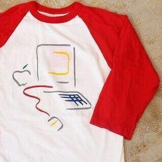 画像1: 80's Apple USA製 ピカソデザイン ラグランTシャツ L (1)