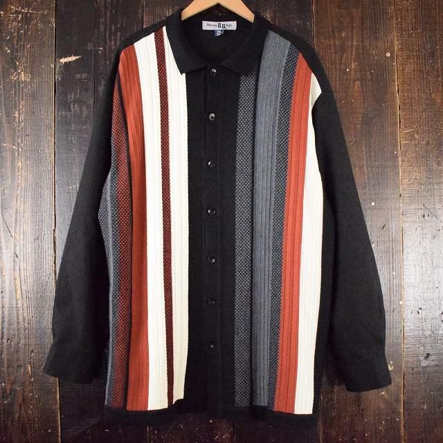 画像1: Michael 88 Irvin ボーダー柄 レーヨンニットシャツ 3XL (1)