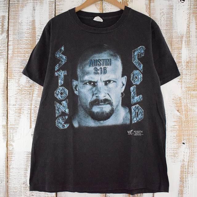 """画像1: 90's WWF """"COLD STONE STEVE AUSTIN"""" USA製 プロレスTシャツ L (1)"""