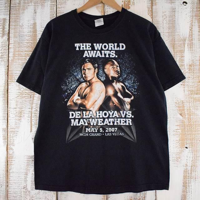 """画像1: THE WORLD AWAITS """"DELAHOYA vs MAYWEATHER"""" ボクシングTシャツ L (1)"""