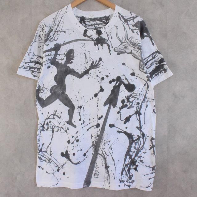 画像1: ●【SALE】 80's USA製 Hand painted T-shirt XL (1)