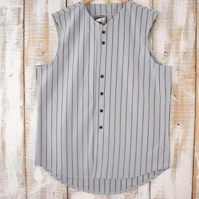 画像1: ノースリーブ ベースボールシャツ XL (1)