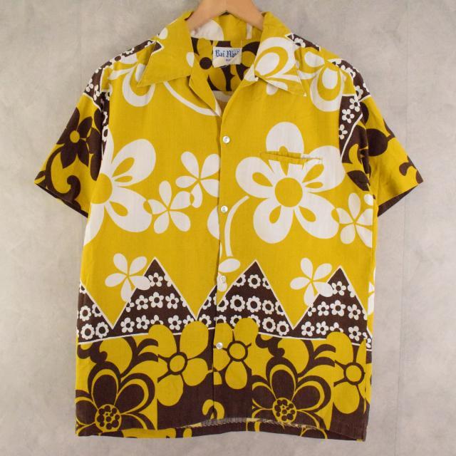 画像1: 70's Rai Nani 花柄 Cotton hawaiian shirt (1)