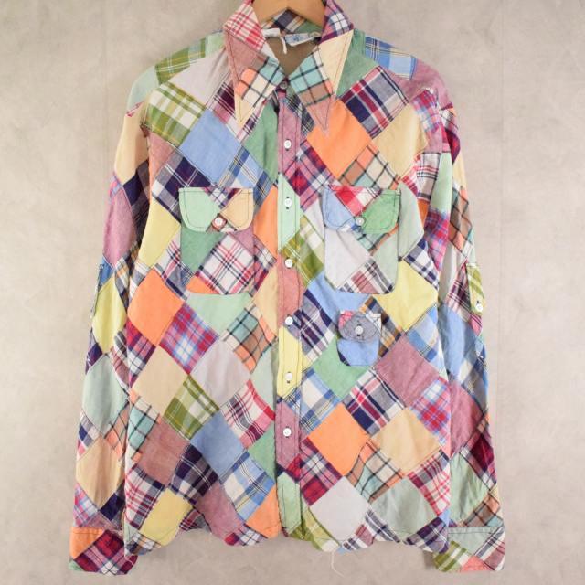 画像1: 70's Alfie Indian Madras Patchwork cotton shirt M (1)