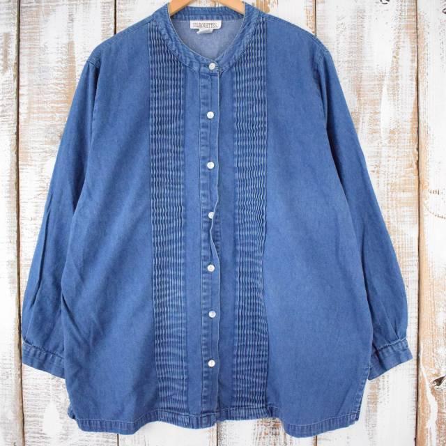 画像1: SILHOUETTES プリーツデザイン ノーカラーデニムシャツ 2X (1)