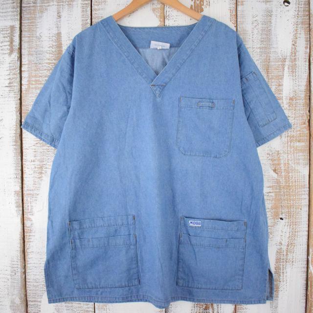 画像1: プルオーバー デニムワークシャツ XL (1)