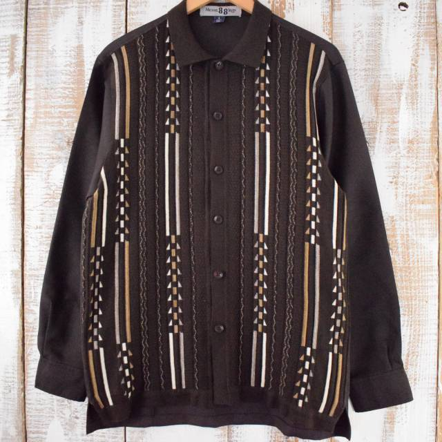 画像1: Michael 88 Irvin ボーダー柄 ニット切り替えシャツ L (1)