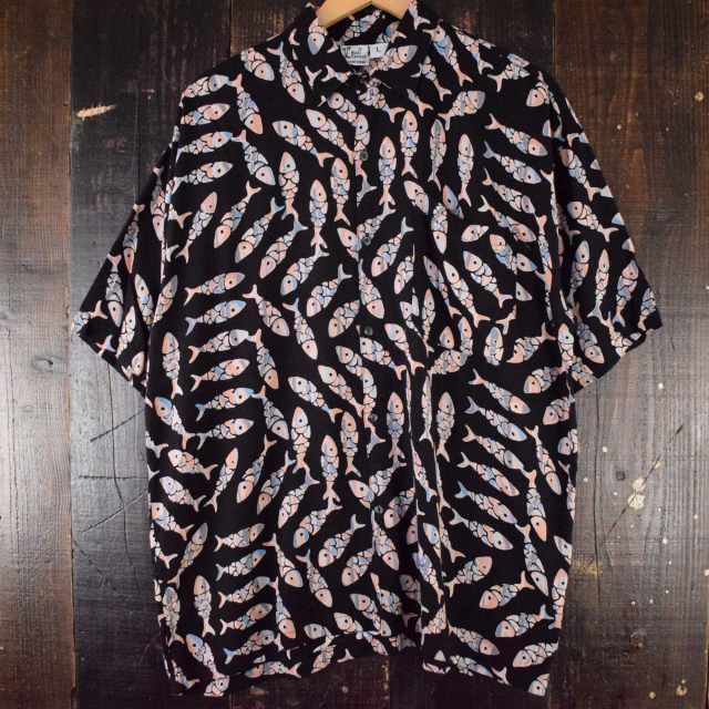 画像1: Bali Casuals 魚柄 レーヨンシャツ L (1)