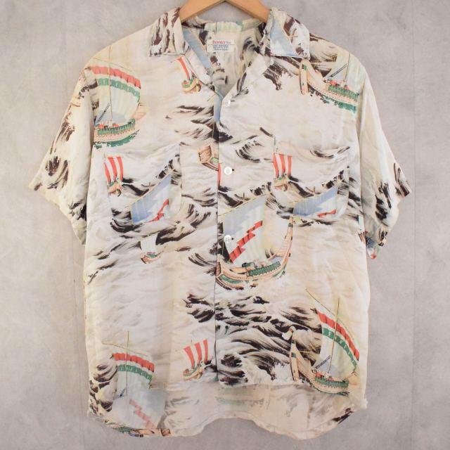 画像1: 60's PENNEY'S JAPAN製 Rayon Hawaiian shirt M (1)