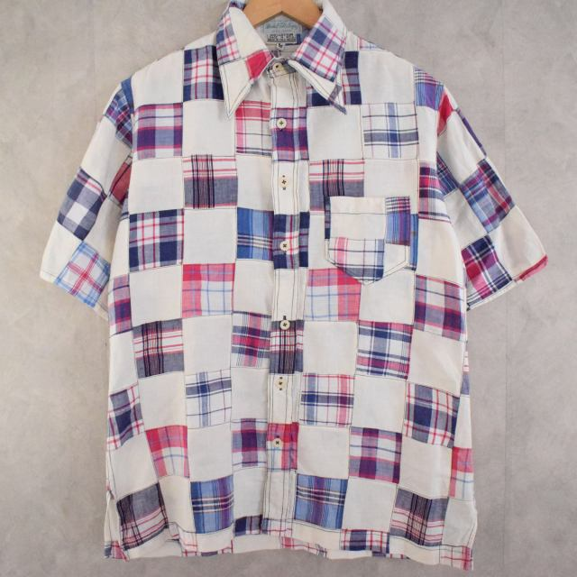 画像1: 70's Marshall Field & Company Indian Madras Patchwork cotton S/S shirt (1)