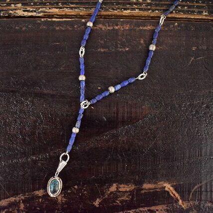 """画像1: RORAN """"Lapis×Antique Turquoise"""" ネックレス (1)"""