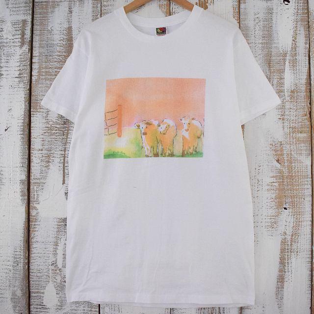 画像1: 90's CANADA製 羊イラストTシャツ L (1)