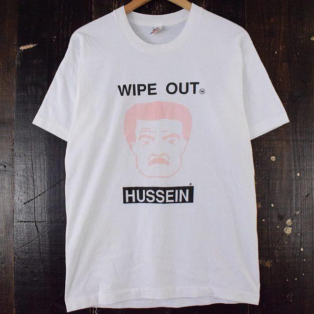 """画像1: 90's USA製 """"WIPE OUT HUSSEIN"""" シュールイラストTシャツ L (1)"""