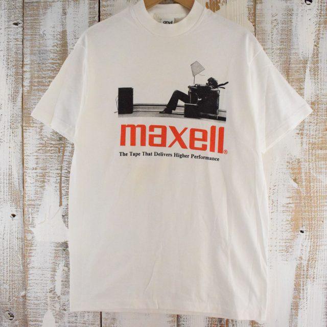 画像1: 90's MAXELL USA製 企業広告プリントTシャツ L (1)