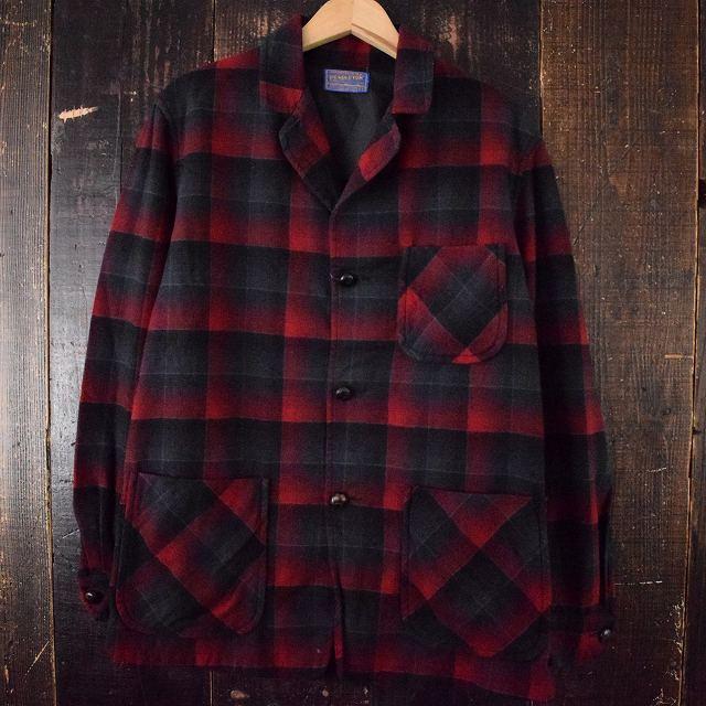 画像1: 【SALE】 50's PENDLETON オンブレーチェック ウールテーラードシャツ S (1)