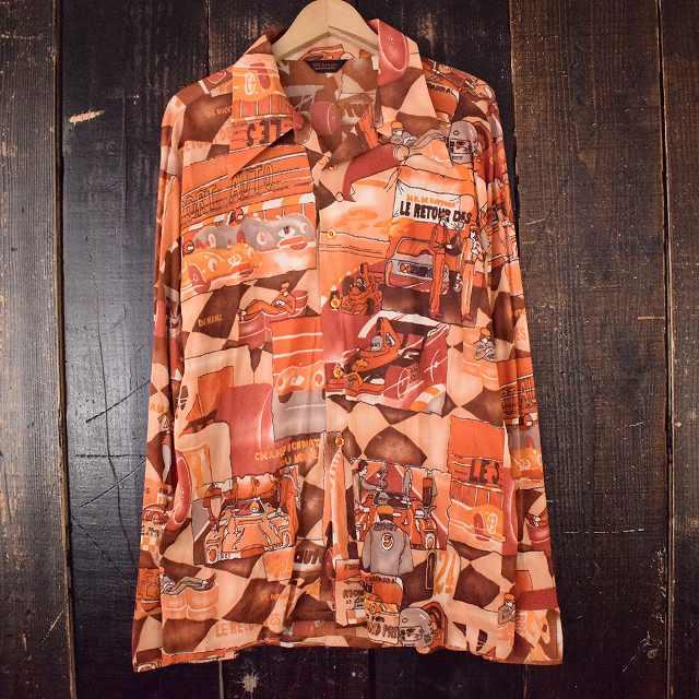 画像1: 【SALE】 70's レーサー総柄ポリシャツ XL (1)