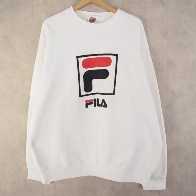 画像1: 90's FILA USA製 ロゴプリントスウェット XL (1)