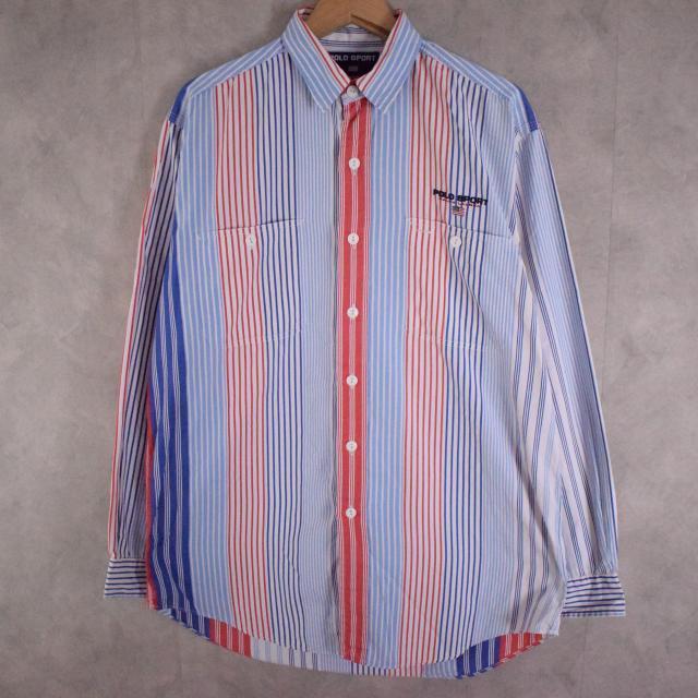 画像1: 90's Ralph Lauren POLO SPORT マルチストライプ柄 コットンシャツ M (1)