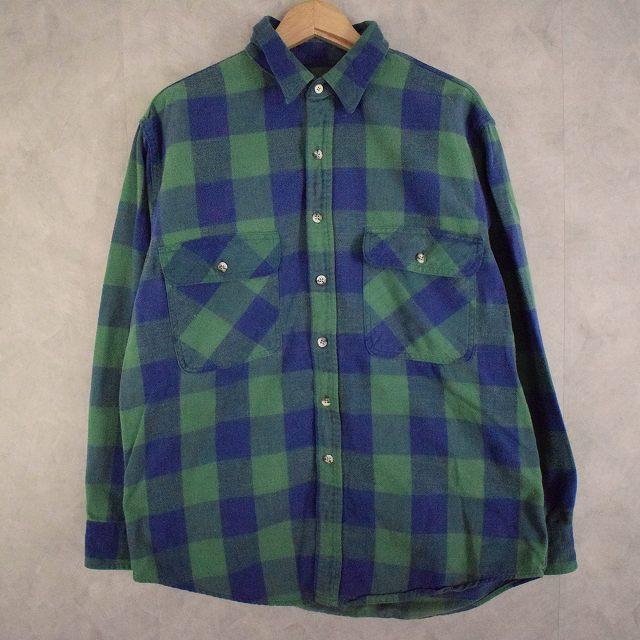 画像1: 90's ST JOHN'S BAY USA製 バッファローチェック柄 ライトネルシャツ L (1)