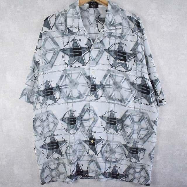 画像1: SOUTH POLE ロゴ刺繍 総柄オープンカラーポリシャツ L (1)