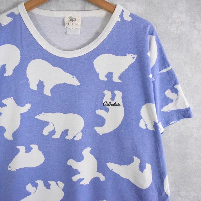 画像1: Cabela's シロクマ総柄プリントTシャツ  (1)