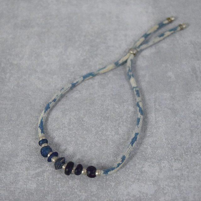 画像1: RORAN Glass Beads×Indigo ropeブレスレット (1)