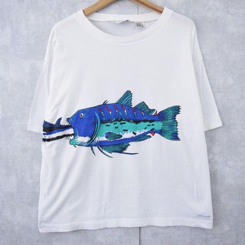 画像1: 90's pierre cardin 魚 巻きプリントTシャツ M (1)