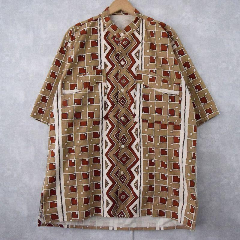 画像1: エスニック柄 マオカラーシャツ (1)