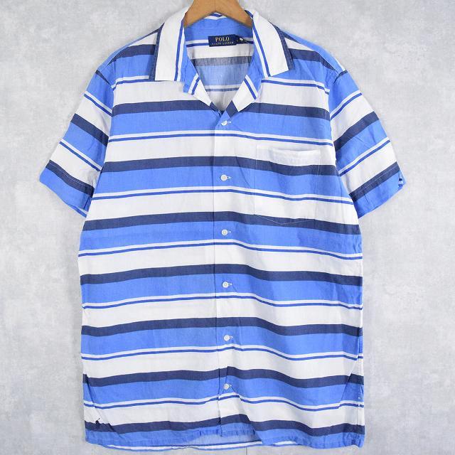 画像1: POLO Ralph Lauren ボーダー柄 オープンカラーリネンシャツ L (1)