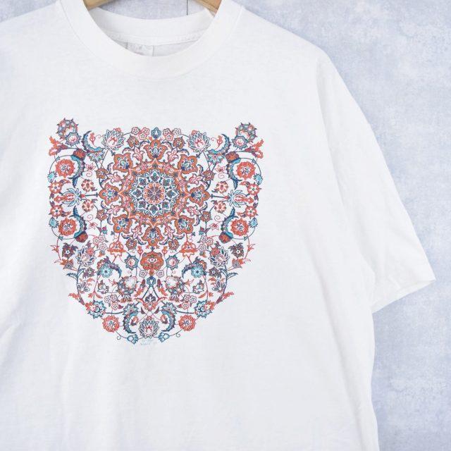 画像1: 90's USA製 オリエンタル柄プリントTシャツ XXL (1)