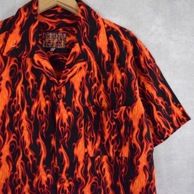 画像1: ファイヤーパターン オープンカラーコットンシャツ L (1)