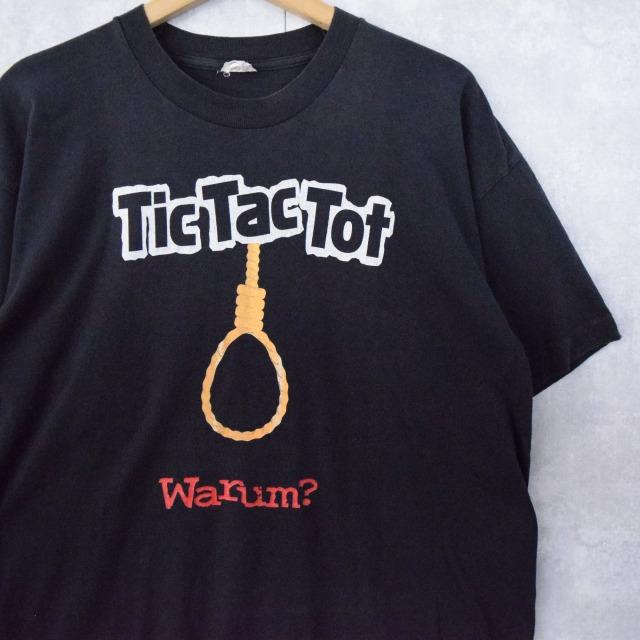"""画像1: 90's Tic Tac Tot """"Warum?""""  首吊り縄 プリントTシャツ L (1)"""
